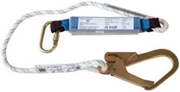 Assorbitore di energia con corda statica diametro mm. 12 con 1 moschettone in acciaio con chiusura filettata e 1 moschettone in acciaio da ponteggio apertura mm. 50 . Lunghezza cm. 152